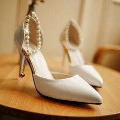 Wello - 仿珍珠踝扣帶尖頭高跟鞋