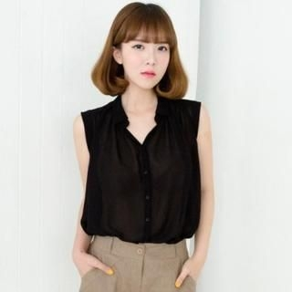 Cookie 7 - Sleeveless Open-Placket Chiffon Blouse