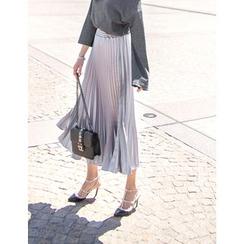 GUMZZI - Band-Waist Pleated Skirt