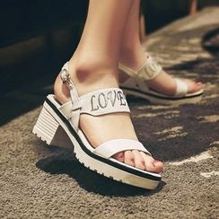 Charming Kicks - Lettering Block Heel Sandals