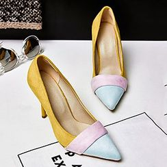 Gizmal Boots - Color Block Pointy Stiletto Pumps