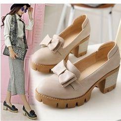 Freesia - Bow Chunky Heel Platform Loafers