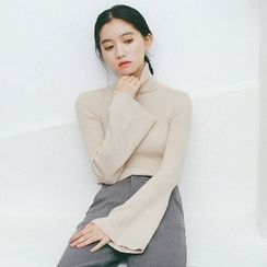 Hanme - Bell-Sleeve Turtleneck Sweater