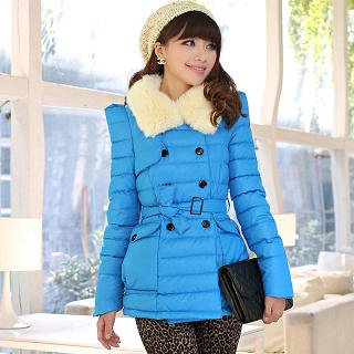 Mooiee - Furry-Collar Double-Breasted Padded Coat