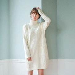 JUSTONE - Turtleneck Cable-Knit Dress