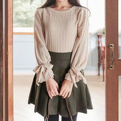 Seoul Fashion - Round-Neck Beribboned-Cuff Top