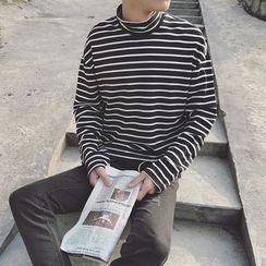 JUN.LEE - High Neck Striped Long-Sleeve T-Shirt