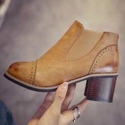 Yoflap - Brogue Chunky Heel Ankle Boots