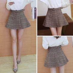 COOKIS - Plaid A-line Knit Skirt