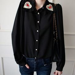 NIPONJJUYA - Frilled-Collar Heart-Appliqué Blouse