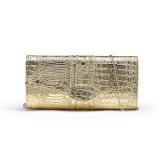 Moonbasa - Croc-Grain Metallic Clutch