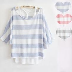 Serenite - Short-Sleeve Striped Knit Top