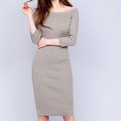 Aurora - Boatneck Knit Sheath Dress