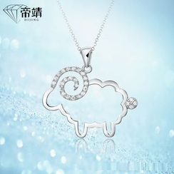 DIJING - Rhinestone Sheep Sterling Silver Necklace