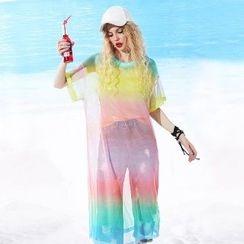 ELF SACK - Short-Sleeve Gradient T-Shirt Dress