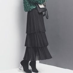 Sonne - 松紧腰多层网纱半身裙