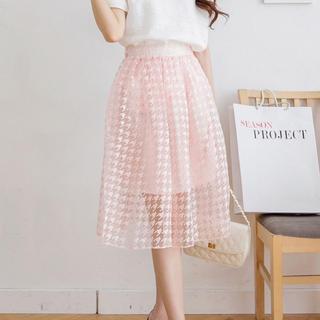 Tokyo Fashion - Houndstooth Tulle Midi Skirt