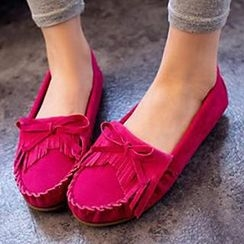 HOONA - Bow-Accent Fringed Moccasins