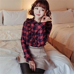 Styleberry - Frill-Trim Plaid Blouse