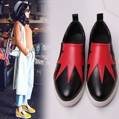 Kireina - Faux-Leather Color-Block Slip-Ons