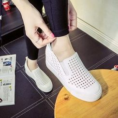 Solejoy - Hidden Heel Perforated Slip-Ons