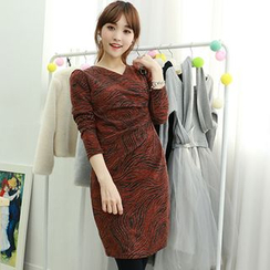 Dodostyle - Wool Blend Patterned Wrap-Front Shirred Dress
