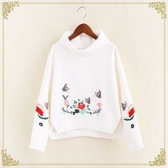 Fairyland - Floral Embroidered Turtleneck Sweatshirt