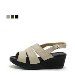 MODELSIS - Genuine Leather Wedge-Heel Sandals