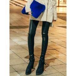 LOLOten - Brushed-Fleece Lined Faux-Leather Trim Leggings