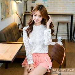 OrangeBear - Flower Sheer Blouse