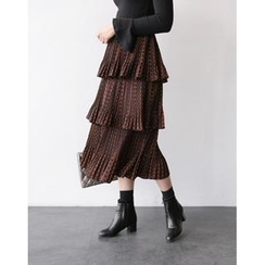 UPTOWNHOLIC - Pattern Tiered Midi Skirt