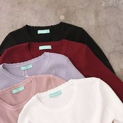 YUKISHU - Plain Long Sleeve Knit Top