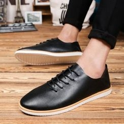 HANO - Faux Leather Lace Up Sneakers