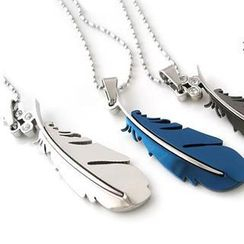 Love Generation - Titanium Steel Feather Necklace