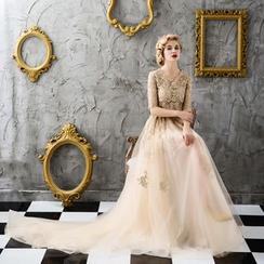 Coeur Wedding - 套装: 中袖珠饰上衣 + 网纱裙