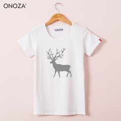 Onoza - Short-Sleeve Deer Print T-Shirt