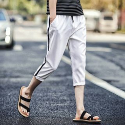 Danjieshi - Cropped Drawstring Slim Fit Pants