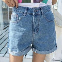 Miss Kekeli - Roll Up Hem Denim Shorts