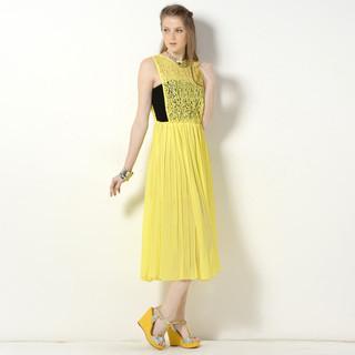 59 Seconds - Sleeveless Lace Bodice Accordion Pleat Maxi Dress