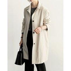 UPTOWNHOLIC - Single-Breasted Cotton Coat