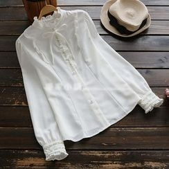 YOYO - Long-Sleeve Embroidery Frilled Blouse