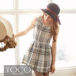 Tokyo Fashion - Beaded Tweed Plaid Tank Dress