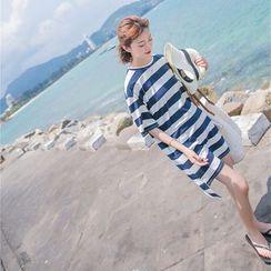 Porta - Striped Elbow Sleeve T-Shirt Dress