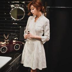 Dabuwawa - 3/4-Sleeve Lace Belted Coatdress