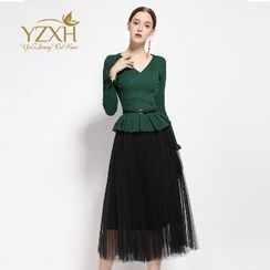 Ameous - Set: Knit Top + Midi Skirt