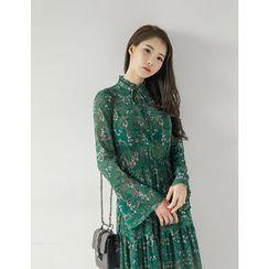 GUMZZI - Tie-Front Floral Print Long Dress