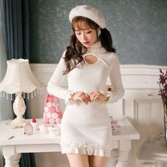 糖果雨 - 长袖针织塑身连衣裙