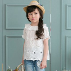 Cuckoo - Kids Perforated Short-Sleeve Blouse