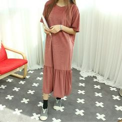 Dodostyle - Velvet Ruffle-Hem Long Dress