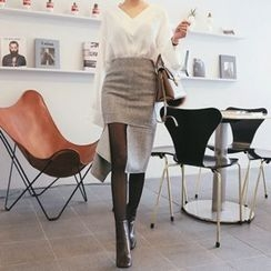 DABAGIRL - Cutout-Hem Wool Blend Pencil Skirt